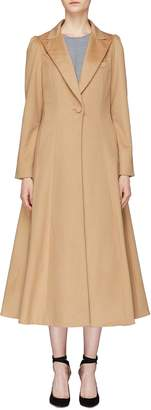 Co Puff shoulder flared wool melton coat