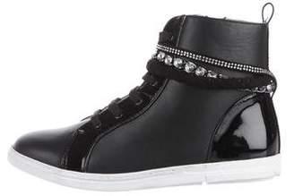 Stuart Weitzman Leather High-Top Sneakers