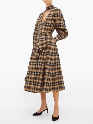 Ganni Checked Cotton Seersucker Midi Dress - Womens - Beige
