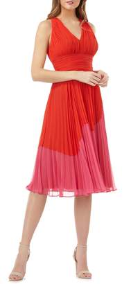 Carmen Marc Valvo Colorblock Pleated Dress