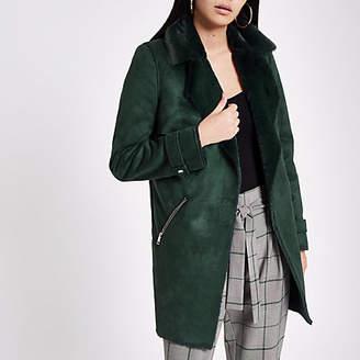 River Island Dark green faux suede fallaway jacket