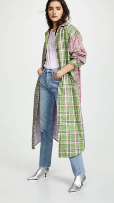 Natasha Zinko Padded Oversized Plaid Robe Coat