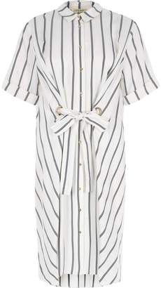 River Island Womens White stripe eyelet tie front shirt dress