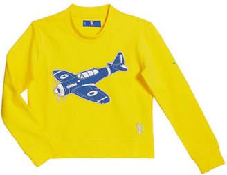 Stefano Ricci Boys' Airplane Patch Long-Sleeve T-Shirt, Size 4-16