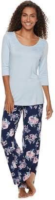 Gloria Vanderbilt Women's Lace Tee & Pants Pajama Set