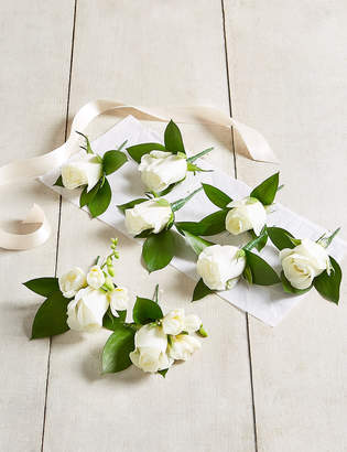 Marks and Spencer White Rose & Freesia - Buttonhole Wedding Party Package