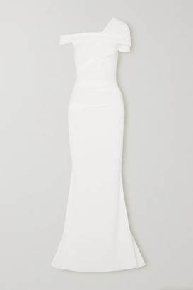 Talbot Runhof Bonette One-shoulder Ruched Stretch-crepe Gown - White