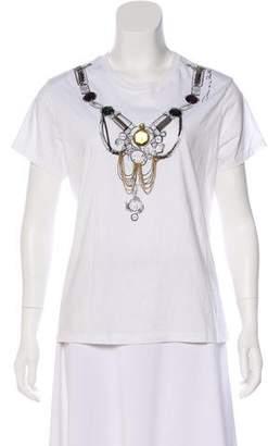 Oscar de la Renta Embellished Graphic T-Shirt