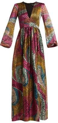 Saloni Camille Spotted Devore Satin Dress - Womens - Multi