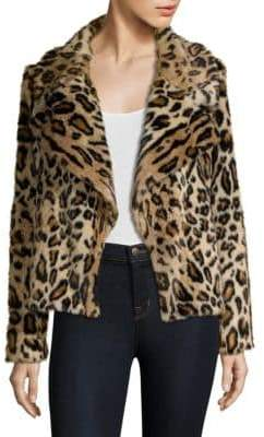 Milly Leopard Faux Fur Jacket