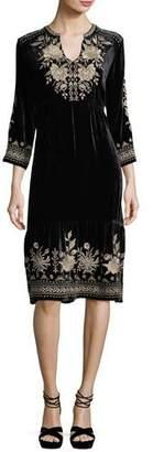 Johnny Was Petite Magdalene 3/4-Sleeve Embroidered Velvet Dress