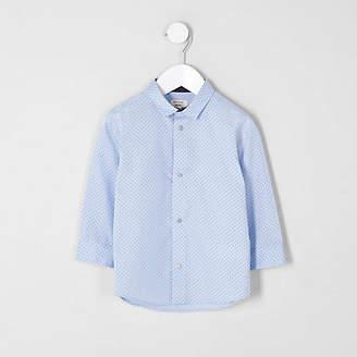 River Island Mini boys light blue polka dot print shirt