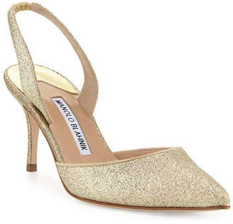 Manolo Blahnik Carolyne Glitter Mid-Heel Halter Pumps