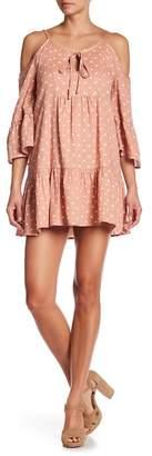 Blu Pepper Cold Shoulder Polka Dot Print Dress