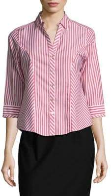 Foxcroft Striped Cotton Button-Down Shirt