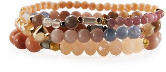 Nakamol Beaded Agate & Crystal Stretch Bracelet Set, Cream Mix $45 thestylecure.com