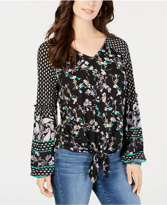 Style&Co. Style & Co Mixed-Print Tie-Front Top