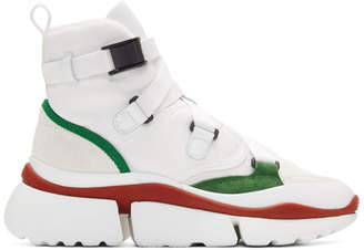 Chloé White and Green Sonnie High-Top Sneakers