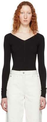 Lemaire Black Leotard V-Neck Sweater
