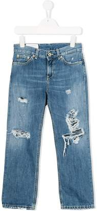 Dondup Kids distressed straight-leg jeans