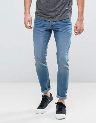 Solid Slim Fit Jeans In Light Wash Blue With Stretch
