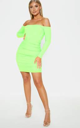 be8b329a7e PrettyLittleThing Neon Lime Bardot Long Sleeve Ruched Bodycon Dress