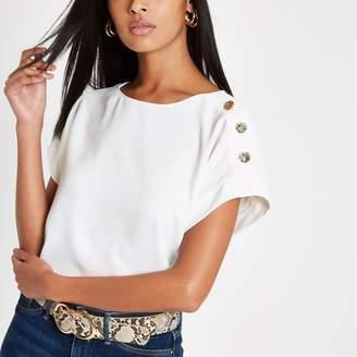 River Island Womens White button detail T-shirt