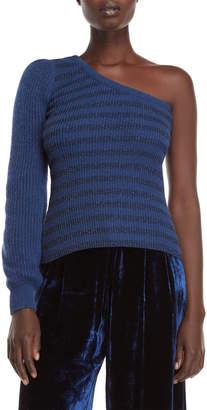 Roberto Collina Stripe One-Shoulder Sweater