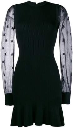 Alexander McQueen sheer sleeve knitted dress