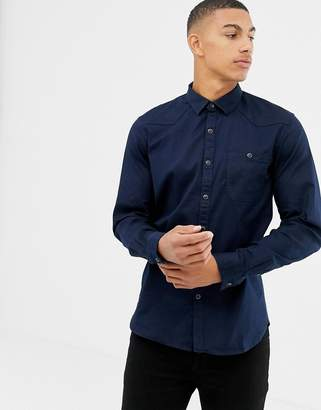 Tom Tailor slim fit utility shirt with pockets in black