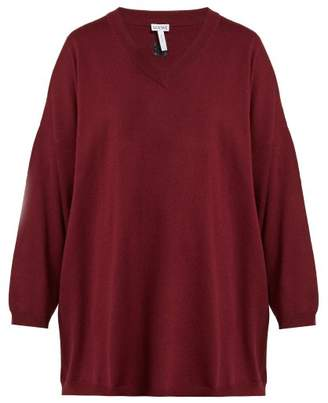 Loewe Oversized Wool Sweater - Womens - Burgundy