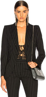 Alexander McQueen Pinstripe One Button Blazer in Black & White | FWRD