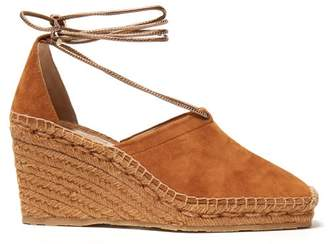 Jimmy Choo Dulce 90 Suede Espadrille Wedges - Womens - Tan Gold
