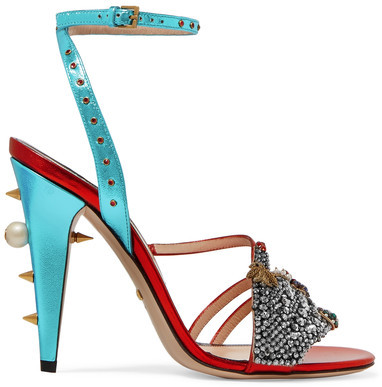 Gucci - Embellished Metallic Leather Sandals - Red