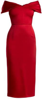 Emilio De La Morena Tamara Off The Shoulder Duchess Satin Dress - Womens - Red