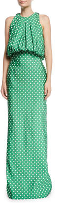 Calvin Klein Sleeveless Bubble-Top A-Line Polka-Dot Evening Gown