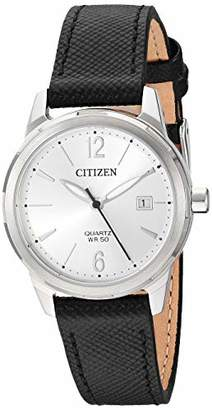 Citizen Women's Stainless Steel Japanese-Quartz Leather Calfskin Strap