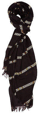NEW Printed Village Womens Scarves Chevron Stripes Scarf Size OneSize Black