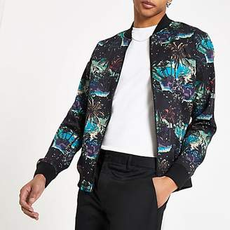 River Island Black paradise print bomber jacket