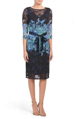 Three-quarter Sleeve Printed Lace Dress