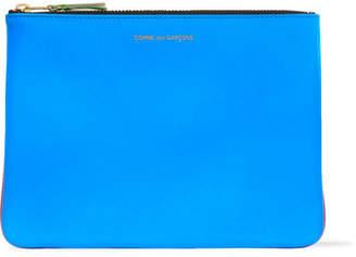 Comme des Garçons - Super Fluo Neon Leather Pouch - Blue $145 thestylecure.com