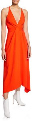 Dion Lee Asymmetric V-Neck Midi Dress