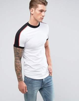Asos DESIGN Extreme muscle fit Longline T-Shirt With Curve Hem And Shoulder Panels