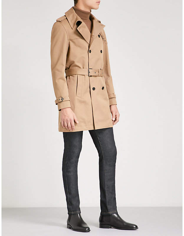 Double-breasted cotton-twill trench coat