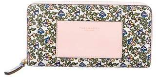 Tory Burch Floral Print Zip-Around Wallet