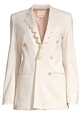Rebecca Taylor Women's Scalloped Double-Breasted Blazer - Size 0