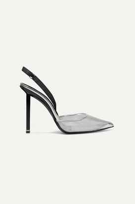 Alexander Wang Alix Metallic Mesh And Leather Slingback Pumps - Silver