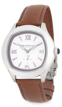 Bruno Magli Stainless Steel Leather Strap Watch