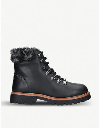 Kurt Geiger Tyrone faux-fur trimmed leather hiking boots