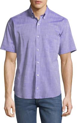 Tailorbyrd Scratched-Poplin Short-Sleeve Sport Shirt